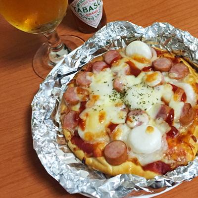 ウインナー餅ピザ